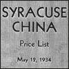 Syracuse China/O.P.Co. Price List 1934