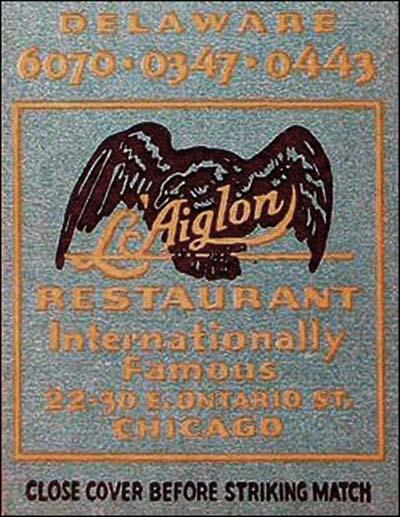 L'Aiglon Restaurant - Chicago 2-matchbook