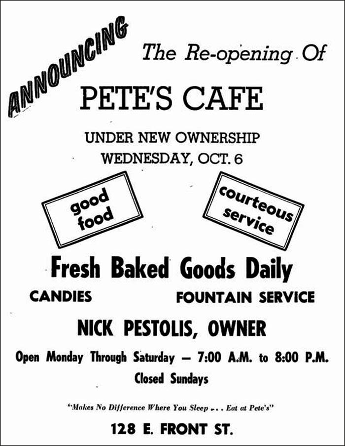 Pete's Cafe -ad 3
