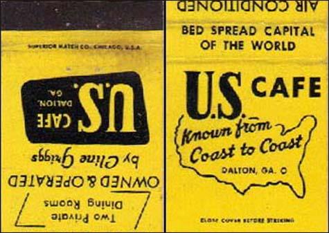U.S. Cafe -matchbook